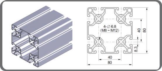 Nhôm định hình 80x80R